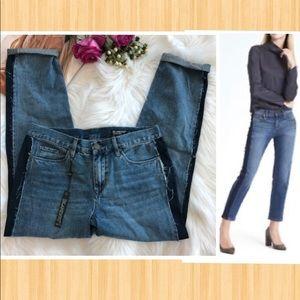 BLANKNYC Cropped Girlfriend Side-Pieced Jeans
